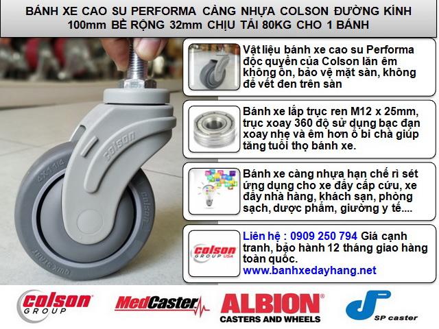 Bánh xe cọc vít càng nhựa phi 100 - 4 inch Colson Mỹ | STO-4854-448 www.banhxepu.net