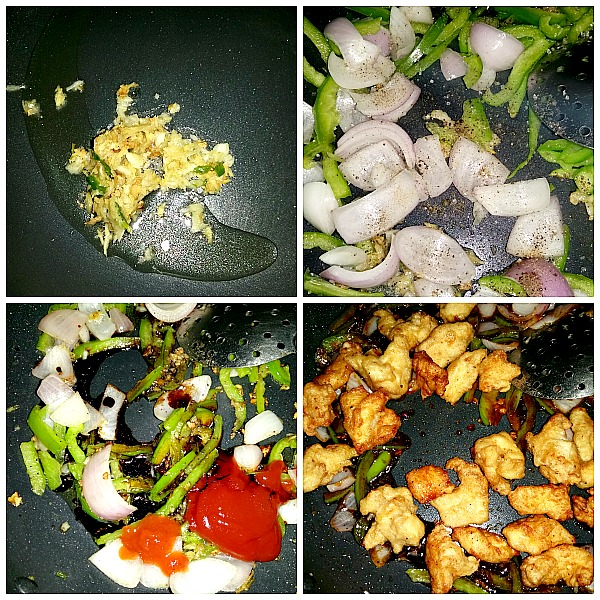 Step by Step pictures of how to make restaurant style chili chicken 2