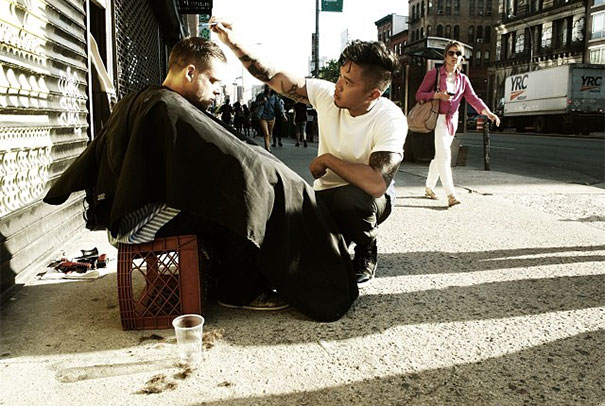 Every sunday, this new york hair stylist gives free haircuts to the homeless.