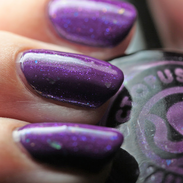 Octopus Party Nail Lacquer Psychopomp over Sally Hansen 508 Vivid Violet