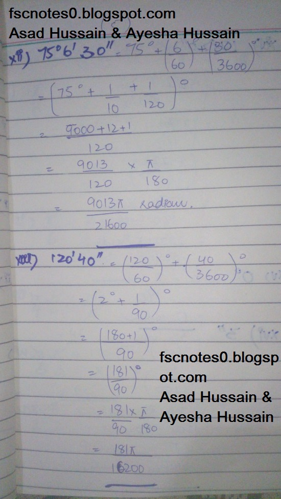FSc ICS FA Notes Math Part 1 Chapter 9 Fundamentals of Trigonometry Exercise 9.1 Question 1 by Asad Hussain & Ayesha Hussin 3