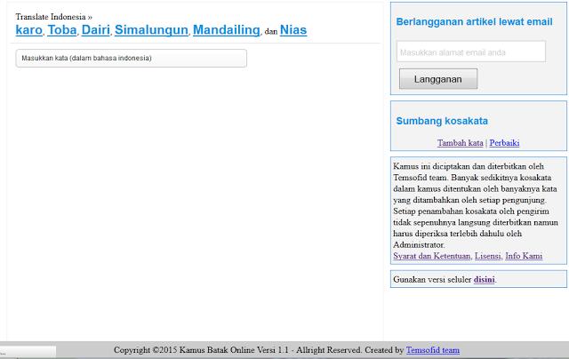 script Kamus Indonesia – Batak Versi 1 menggunakan php mysql database
