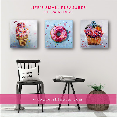 Ice cream cone donut and cupcake oil paintings by artist Merrill Weber