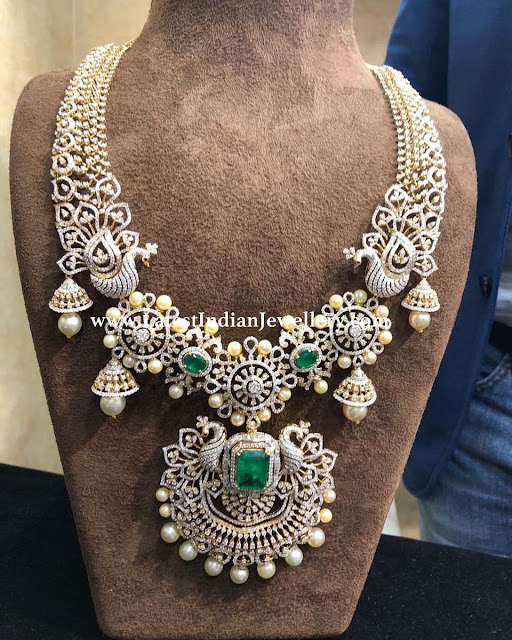 Peacock Jhumka Design Diamond Necklace