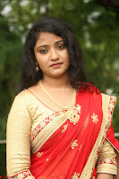 Akshara in Red Saree Golden Choli at LV Movie Makers Production No 1 Movie Opening ~  Exclusive 049.JPG
