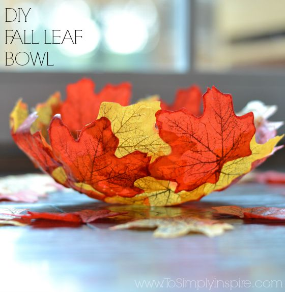 orange and yellow leaves create a striking decorating bowl.