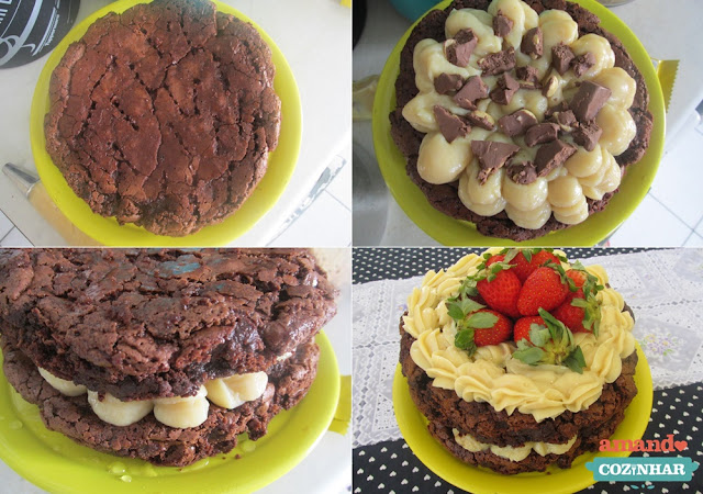 receita Naked Cake de Brownie