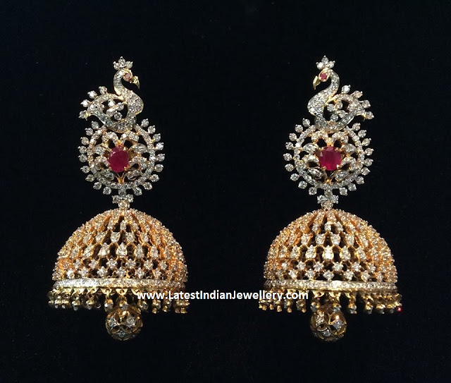 Peacock Top Diamond Jhumkas