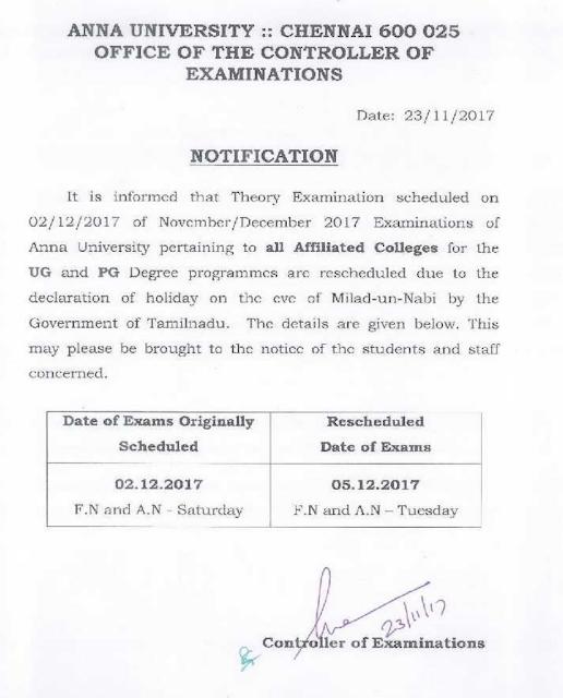 Anna University Postponed December 02, 2017