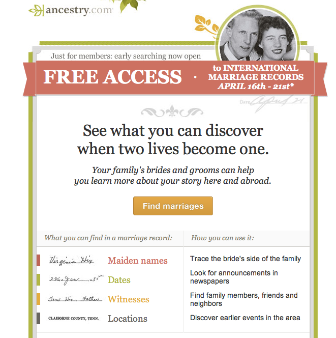 AncestryInk : Free International Marriage Records