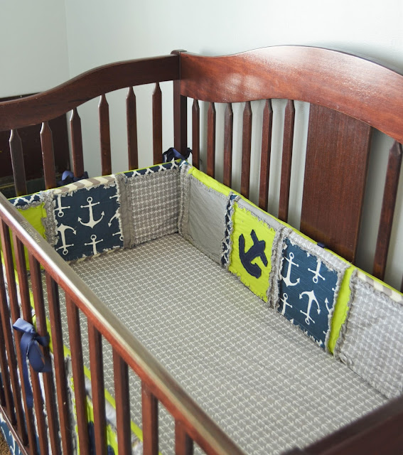Nautical Baby Nursery Crib Bumpers with Anchors in Navy Blue, Lime Green, and Grey