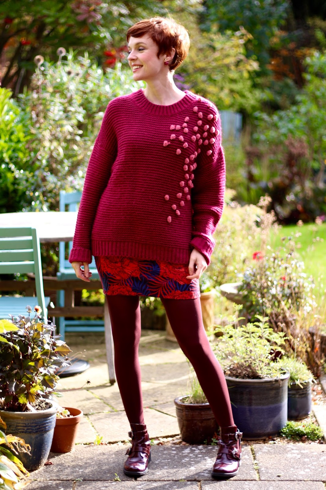 Chunky Statement Knit, Jacquard Miniskirt & Buckle Boots | Mini Skirts over 40 | Fake Fabulous