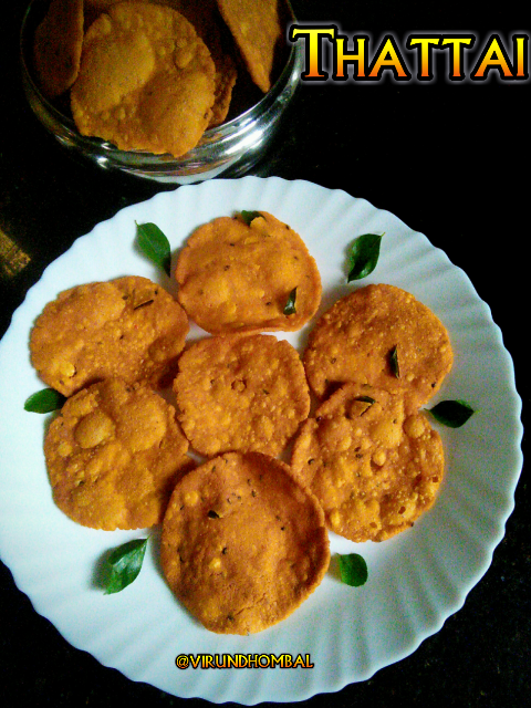 Thattai - popular and favourite snack for all of us. For this Diwali you can prepare your own homemade thattai. It's not hard, once you tried it with simple techniques and the result is perfect and you won't prefer store bought thattais. One of my favourite ways to make the flour for thattai and thenkuzal is to grind the idly rice and then mixed with urid dal flour. The ground rice batter is easy to prepare and the thattais are wonderfully crispy. The following are the instructions for the perfect thattais 1. Soak the idly rice for 3 to 4 hours and then grind it. 2. For a flavourful thattai add a good amount of red chillies, asafoetida powder and curry leaves.  3. Fry the thattais on medium heat for uniform cooking. Do not change the heat while frying. 4. Do not forget to add the unsalted butter. Do not add more butter because thattais will break down.