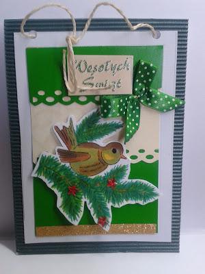 ptaszek na gałązce kartka świąteczna