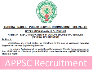 APPSC AE / AEE Recruitment Notification 2017