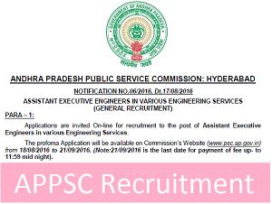 APPSC AE / AEE Recruitment Notification 2016
