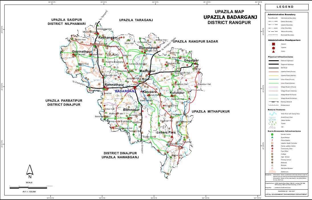 Badarganj Upazila Map Rangpur District Bangladesh