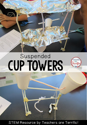 STEM Challenge: Using straws as a main materials kids must build a tower to support two cups. There are some crazy rules about the cups! Perfect for STEM Friday! Check the blog post for more!