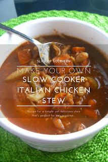 Slow Cooker Italian Chicken Stew: Warm and inviting, this thick and hearty stew will have you rubbing your tummy and going back for more! - Slice of Southern