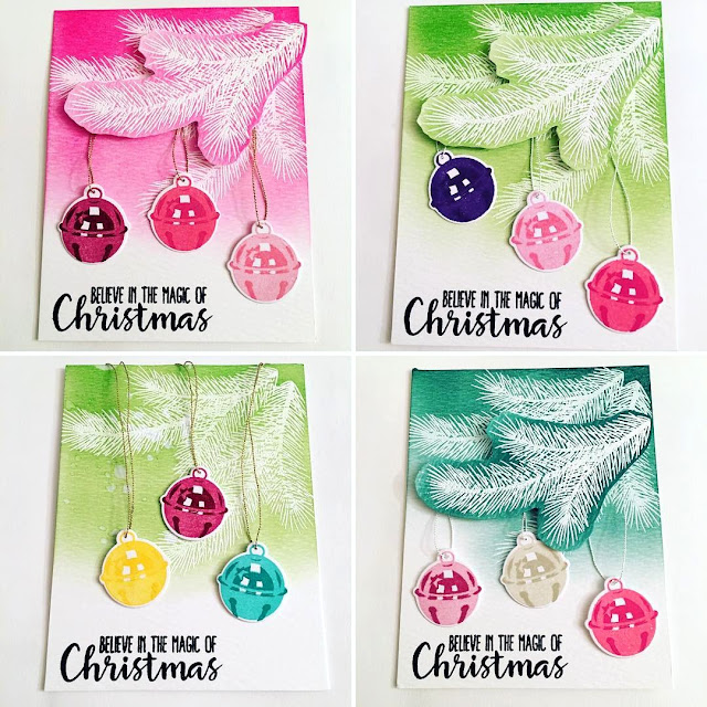 Sunny Studio Stamps: Holiday Style Jingle Bell Christmas Cards by Erica
