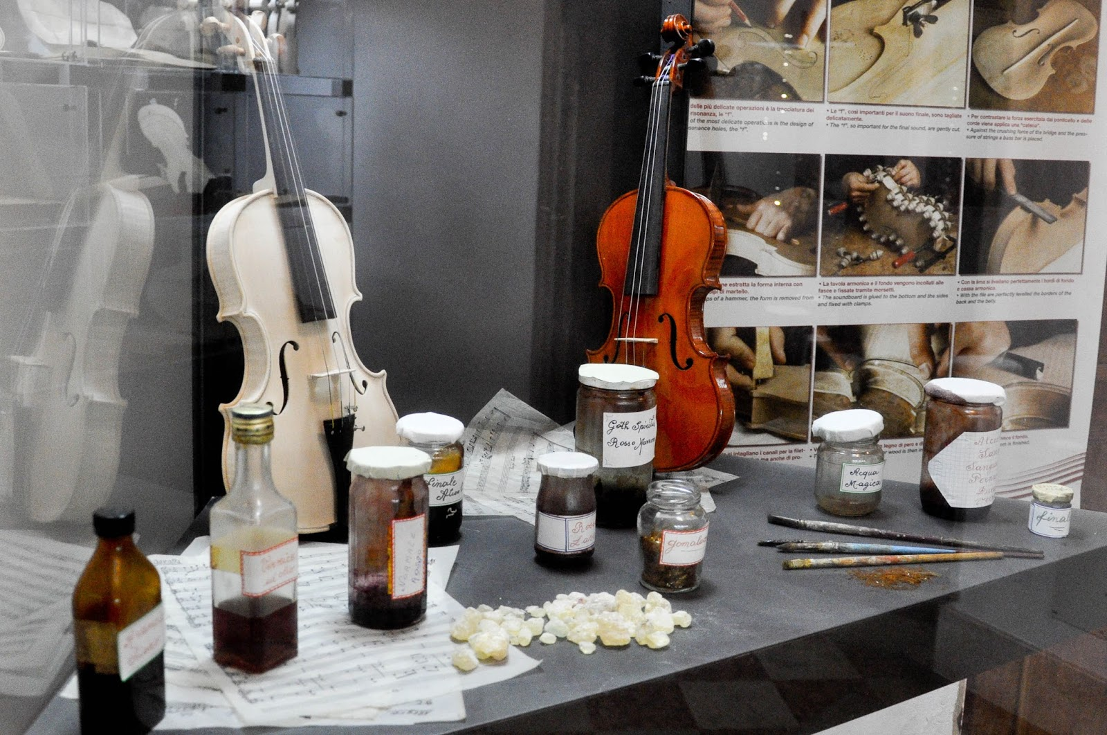 Varnishing the violins, Exhibit case, Museum of the Music, Venice, Italy