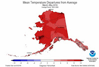 How much spring temperatures differed from average during the spring in Alaska. (Credit: NOAA) Click to Enlarge