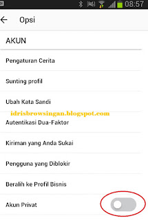 setting akun instagram