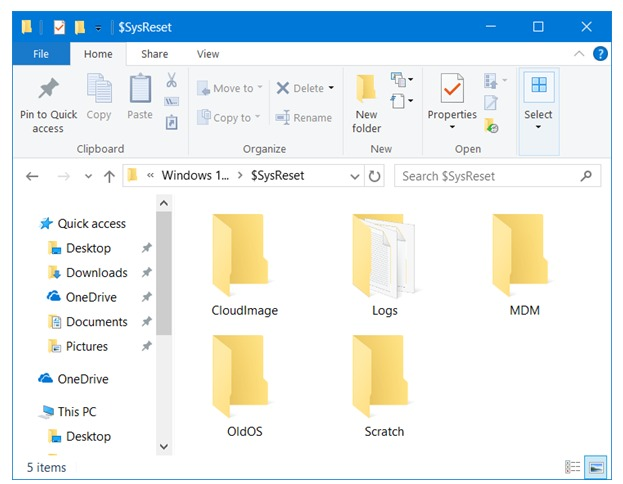What is $SysReset folder  in Windows 10 and how Can I delete $SysReset folder