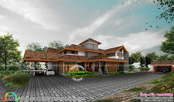 3d rendering of traditional Kerala roof house