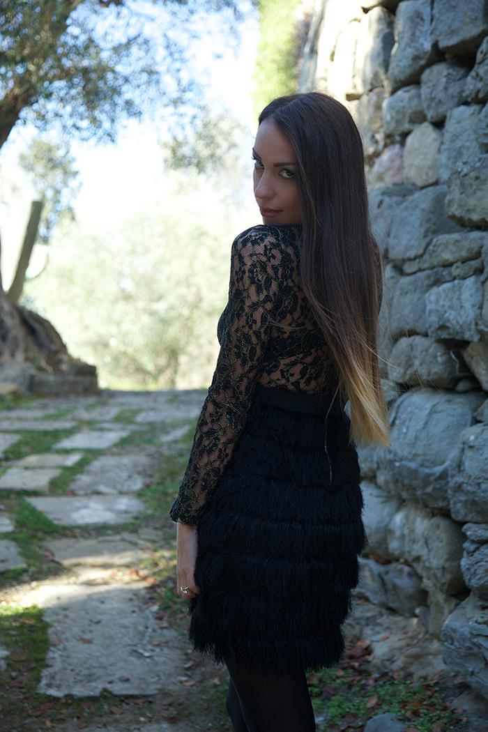 feather skirt dress