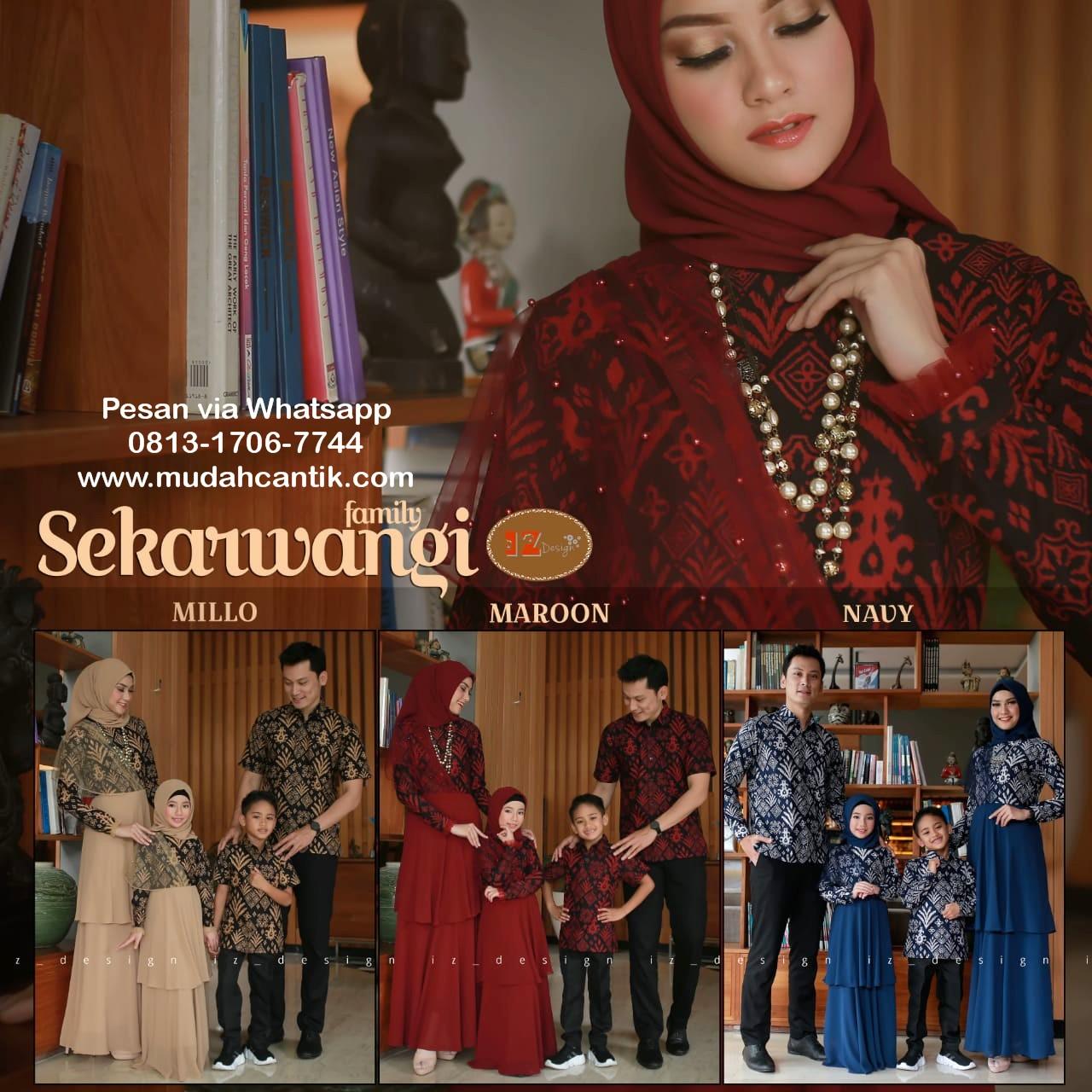 Gamis Batik Sarimbit Keluarga Untuk Lebaran Baju Muslim Terbaru 2019