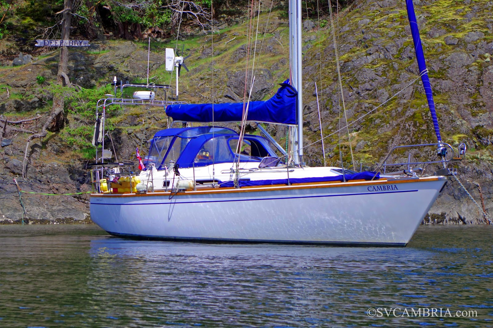Cambria at anchor in Deep Bay, Jedediah Island, BC.