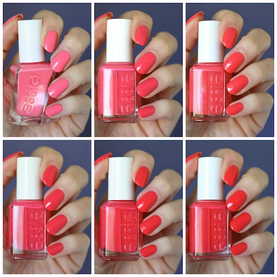 Essie Pink-Red Coral Comparison : Cute As A Button, Sunday Funday ...
