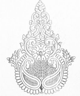 Hand emroidery flowers design drawing on tracing paper for hand works