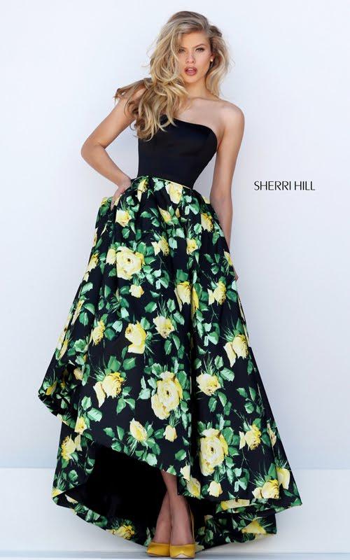2016 Homecoming Dresses: Sherri HIll Yellow Print Floral ...