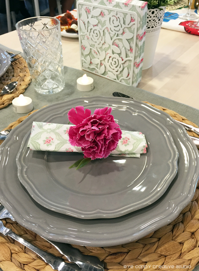 floral place setting, pink & grey place setting, IKEA dining, IKEA catalog