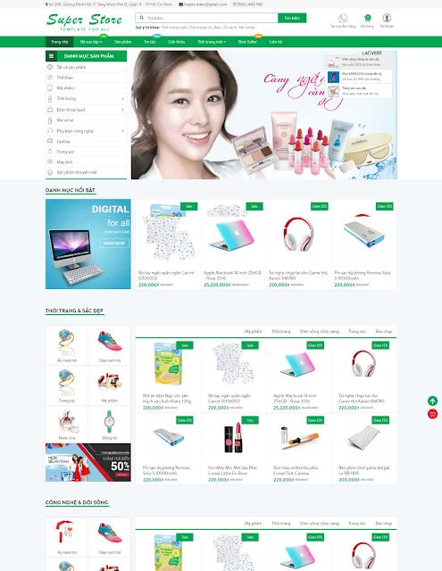 Template blogspot bán hàng miễn phí Super Store