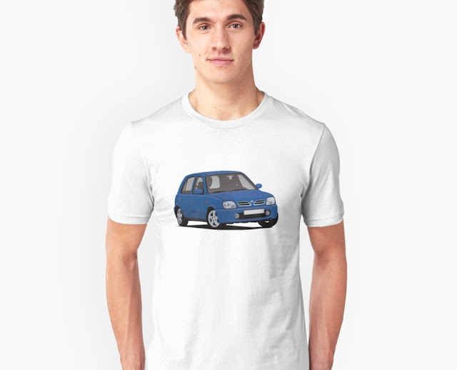 Blue Nissan Micra / Nissan March - automobile t-shirt