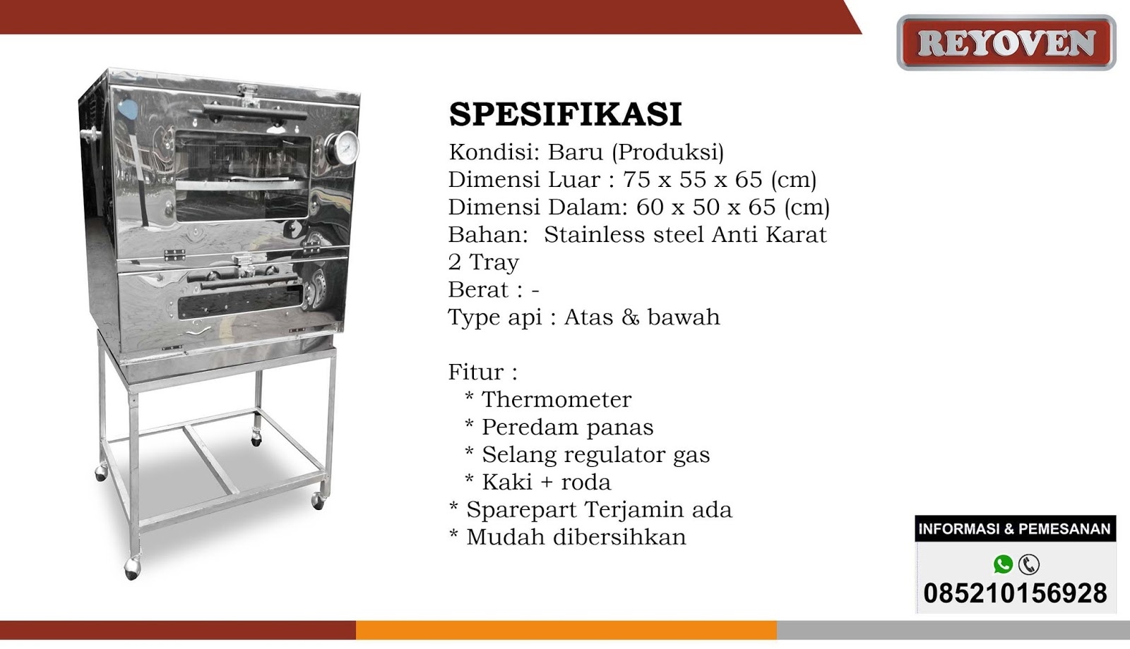 Oven Gas Stainless P 75 OVEN GAS NO1 DI INDONESIA