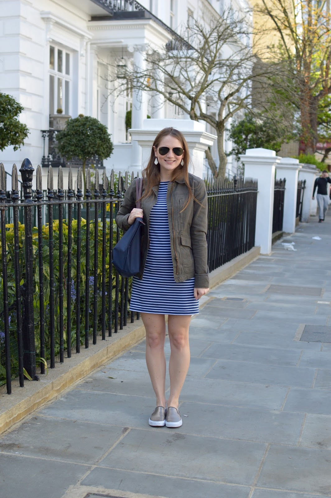 casual spring outfit ideas | striped blue dress| blue and olive | what to wear with your military jacket | spring lookbook | spring style | a memory of us