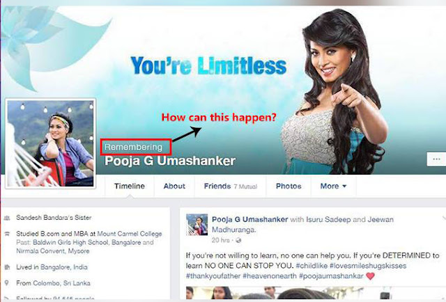 As a marketing strategy to popularize new film actress Pooja Umashanker reported dead on FB