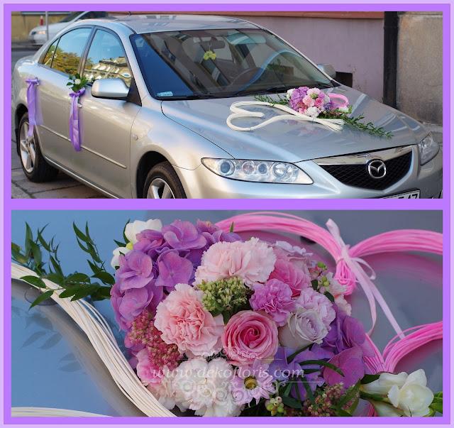 ślubna dekoracja samochodu rózowa