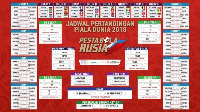 Ini Jadwal Pertandingan Piala Dunia 2018 Hari Ini, Minggu 17 Juni