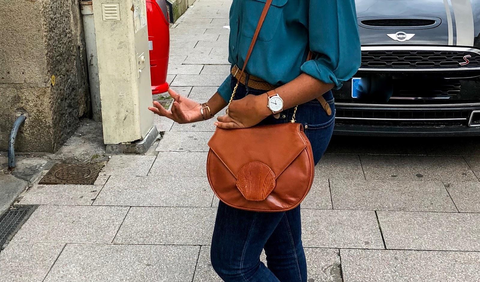 sac vintage couleur cognac