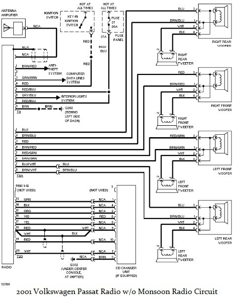 2001 Volkswagen Passat Radio wiring diagram ~Circuit diagram