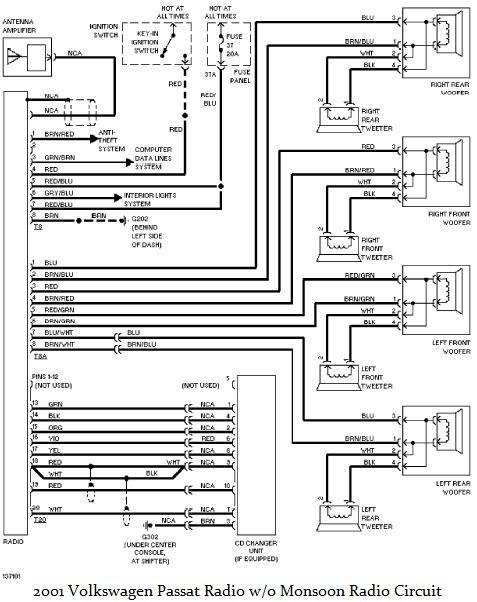 2001 Volkswagen Passat Radio wiring diagram ~Circuit diagram
