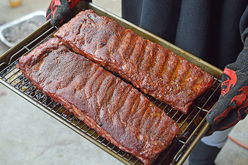 Ribs out of the smoker and ready to go into the foil wrap.