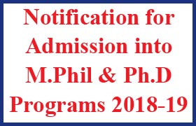 Dr. B. R. Ambedkar Open University M.Phil. and Ph.D. Programmes - 2018-19