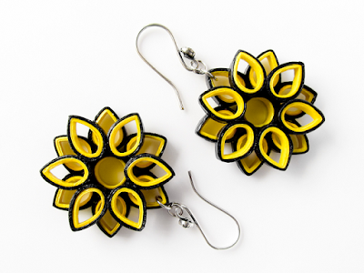 yellow color quilling earring designs for girls - quillingpaperdesigns