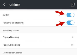 Turn on Switch & Powerful ad blocking in Adblock